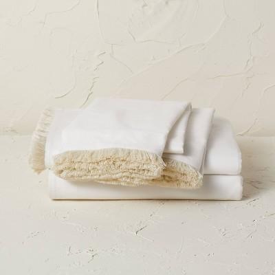 King Fringe Cotton Percale Sheet Set Cream - Opalhouse™ designed with Jungalow™