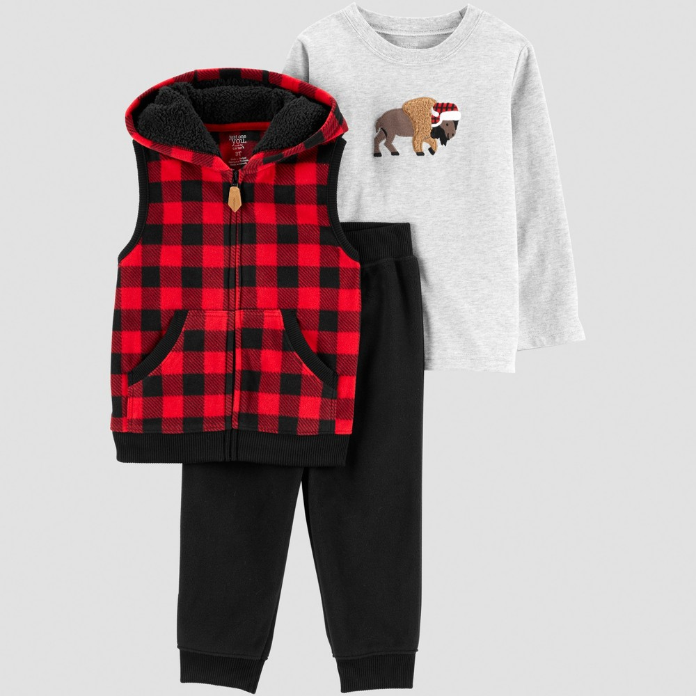 Toddler Boys' 3pc Buffalo Plaid Set - Just One You made by carter's Red 3T