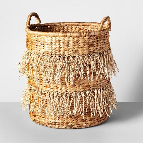 """18"""" x 16.3"""" Water Hyacinth Fringe Basket Natural - Opalhouse™ - image 1 of 4"""