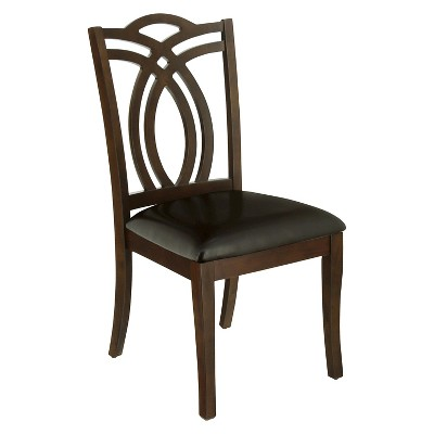 Superbe IoHomes Fancy Back Carving Padded Leatherette Side Chair Wood/Dark Walnut  (Set Of 2)
