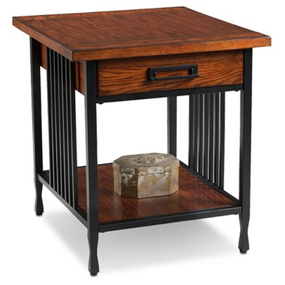Ironcraft Drawer End Table   Mission Oak   Leick Furniture