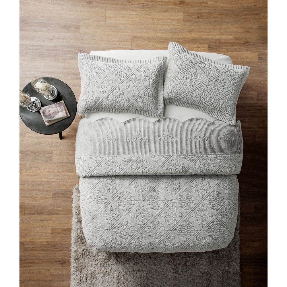 King Westland Quilted Plush Bedspread Set Gray - Vcny Home