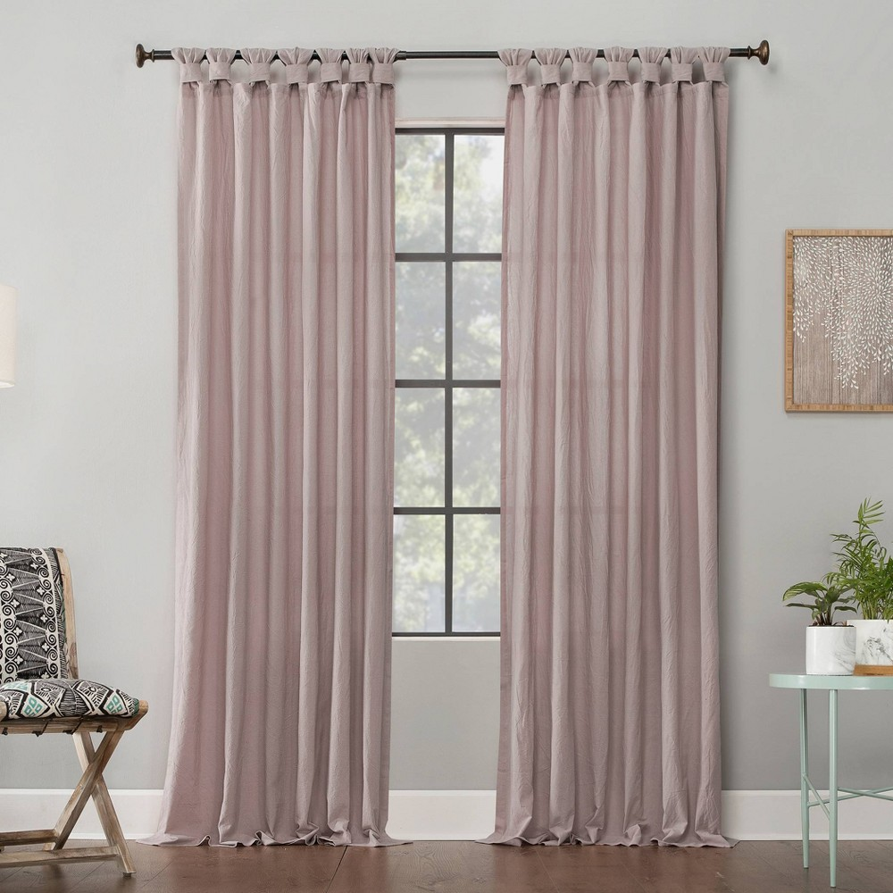 95 34 X52 34 Washed Cotton Twisted Tab Light Filtering Curtain Panel Pink Archaeo