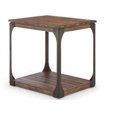 Montgomery Industrial Reclaimed Wood Rectangular End Table in Bourbon Finish - Magnussen Home Furnishings