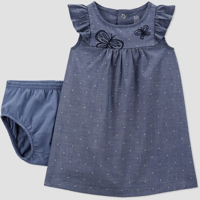 Baby Girls' Butterfly Chambray Dress - Just One You® made by carter's Blue