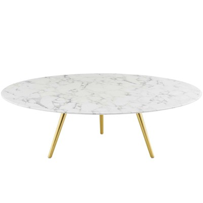 "47"" Lippa Round Artificial Marble Coffee Table with Tripod Base Gold/White - Modway"