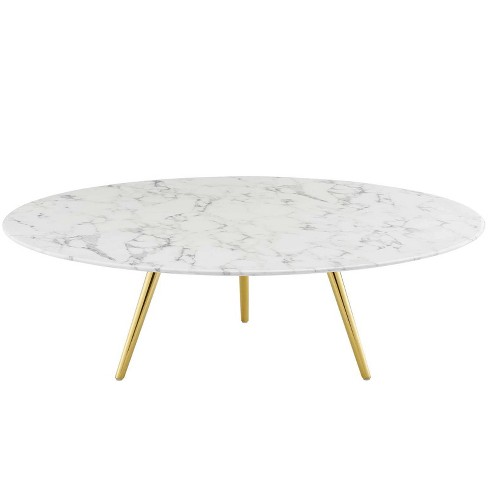 "47"" Lippa Round Artificial Marble Coffee Table with Tripod Base Gold/White - Modway - image 1 of 4"