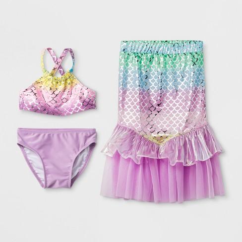 19b3a96ca52ed Toddler Girls' 3pc Mermaid Skirt Bikini Set - Cat & Jack™ Purple ...