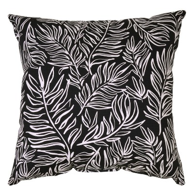 Square Outdoor Throw Pillow - Leaves Black - Project 62™