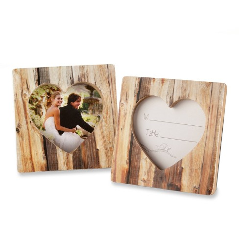 "12ct ""Rustic Romance"" Faux-Wood Heart Place Card Holder/Photo Frame - image 1 of 4"