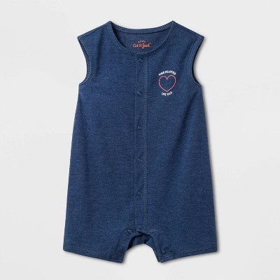 Baby Boys' Dad Romper - Cat & Jack™ Blue 18M