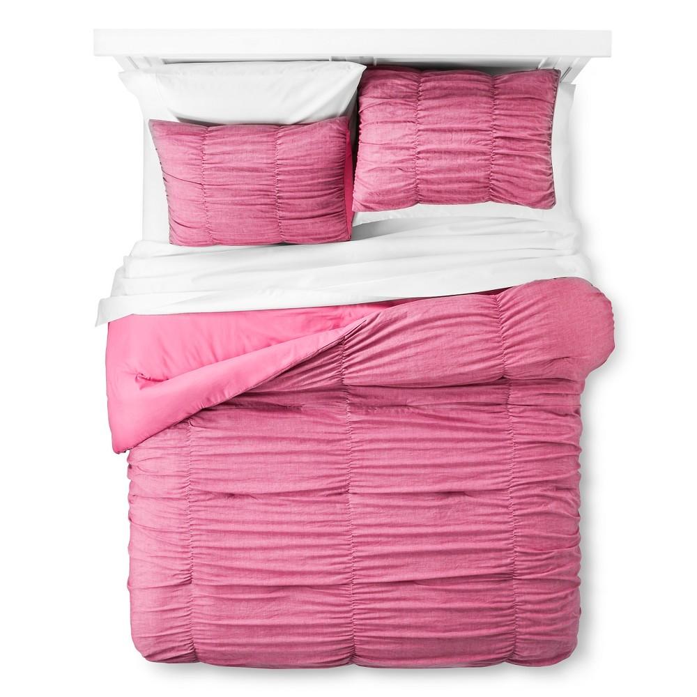 Pink Chambray Comforter Set (Twin Extra Long) - Xhilaration, Disco Pink