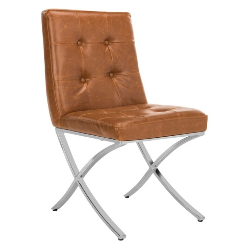About A Chair 12 Side Chair.Walsh Tufted Side Chair Light Brown Chrome Safavieh Target