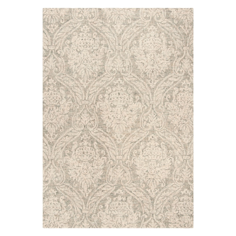 6'X9' Damask Tufted Area Rug Gray/Ivory - Safavieh, Gray White