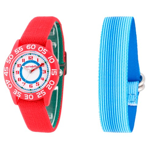 Boys' Red Balloon Red Plastic Time Teacher Watch - Red - image 1 of 2