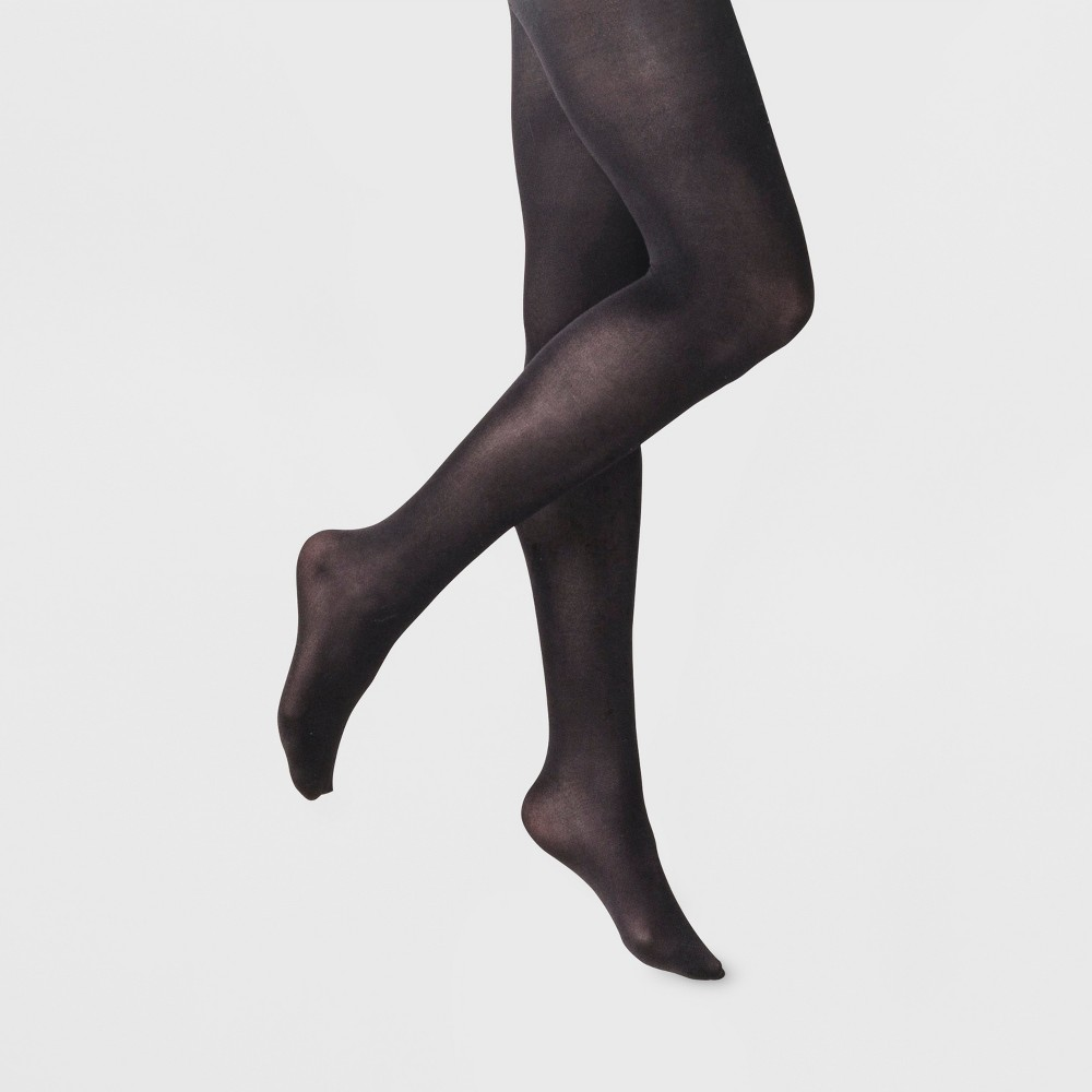 Women's 50D Opaque Control Top Tights - A New Day Black S/M