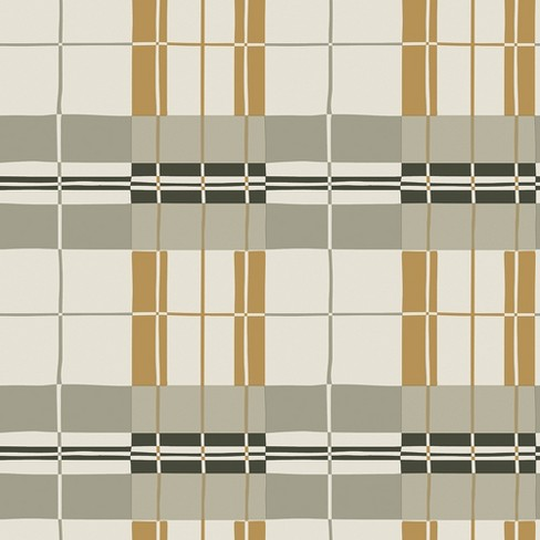 Paired Back Self Adhesive Removable Wallpaper Plaid Mustard - Tempaper - image 1 of 3