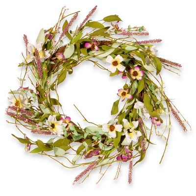 """Artificial Spring Wreath Purple & White 22"""" - National Tree Company"""
