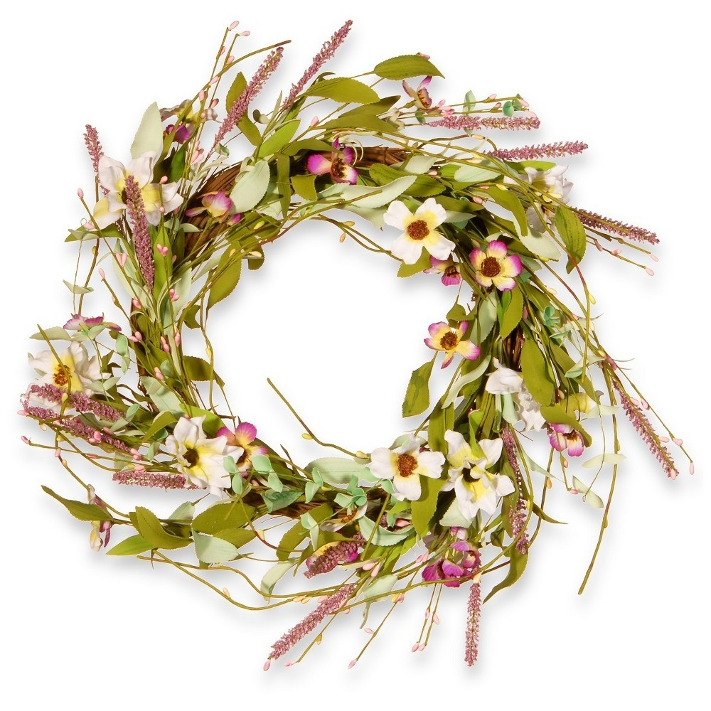 Artificial Spring Wreath Purple & White 22 - National Tree Company