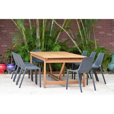 Elvis 9pc Rectangular Teak Finish/Resin Double Leaf Extendable Patio Dining Set - Gray - Amazonia