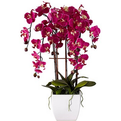 "Dahlia Studios Potted White Ceramic 29"" High Faux Fuchsia Orchid"