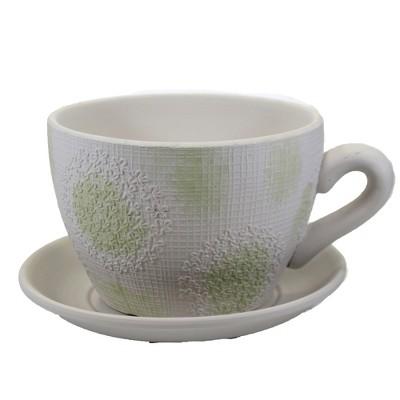 "Home & Garden 5.5"" Embossed Dandelion Planter Cup Saucer Ganz  -  Planters"