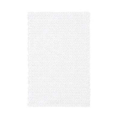 Braide Cotton Chenille Chain Stitch Bath Rug White