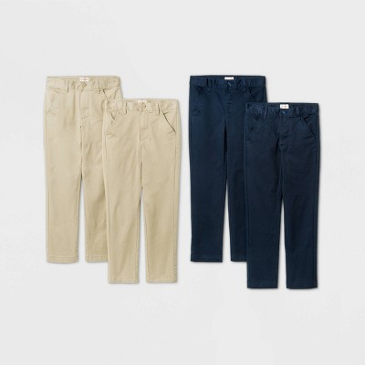 Boys' 4pk Flat Front Stretch Uniform Chino Pants - Cat & Jack™ Khaki/Navy