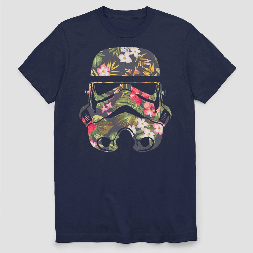 Adult Star Wars Storm Flowers Short Sleeve Graphic T Shirt Navy S
