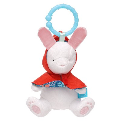 Manhattan Toy Fairytale Rabbit Plush Baby Travel Toy with Chime, Crinkle Ears and Teether Clip-on Attachment