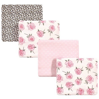 Baby Vision Little Treasure Unisex Baby Cotton Flannel Receiving Blankets - Rose Leopard One Size 4pk