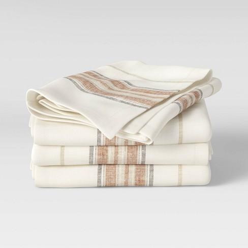4pk Cotton Striped Border Napkins Orange - Threshold™ - image 1 of 4