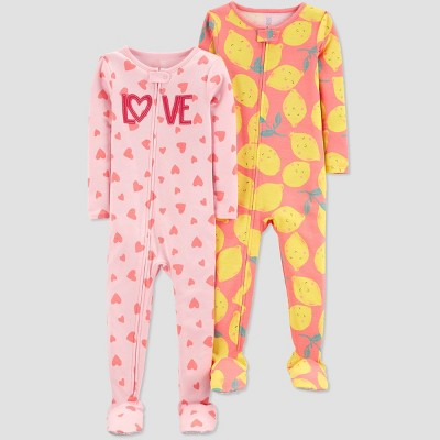 Baby Girls' 2pk Love/Lemons Footed Pajama - Just One You® made by carter's Pink/Yellow