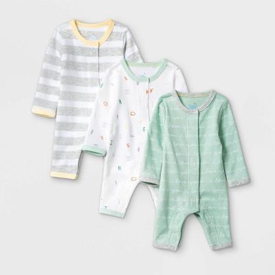 Baby Boys' 3pk 'ABC' Pajama Romper - Cloud Island™ Mint Preemie