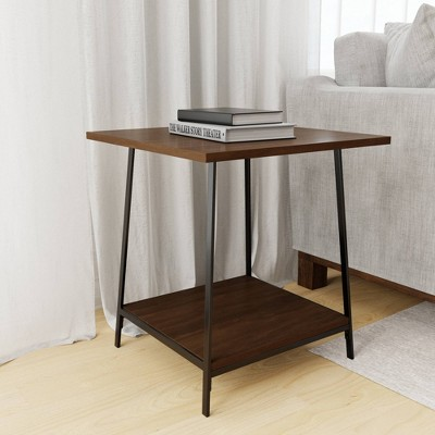 Eliza Metal and Wood End Table with Storage Shelf - Brookside Home