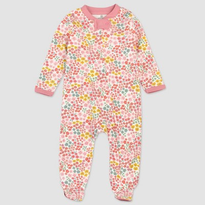 Honest Baby Girls' Organic Cotton Meadow Floral Sleep N' Play - Pink