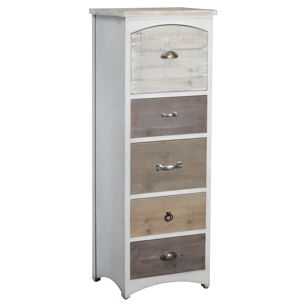 Edwin Tall Wood Cabinet White Natural Powell Company