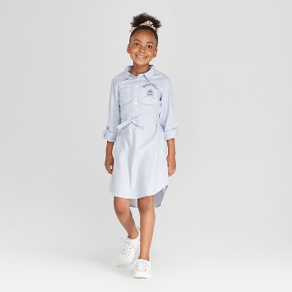 Girls' Harry Potter Woven Shirt Dress - Light Blue XS