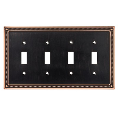 Franklin Brass Classic Beaded Quad Switch Wall Plate Bronze