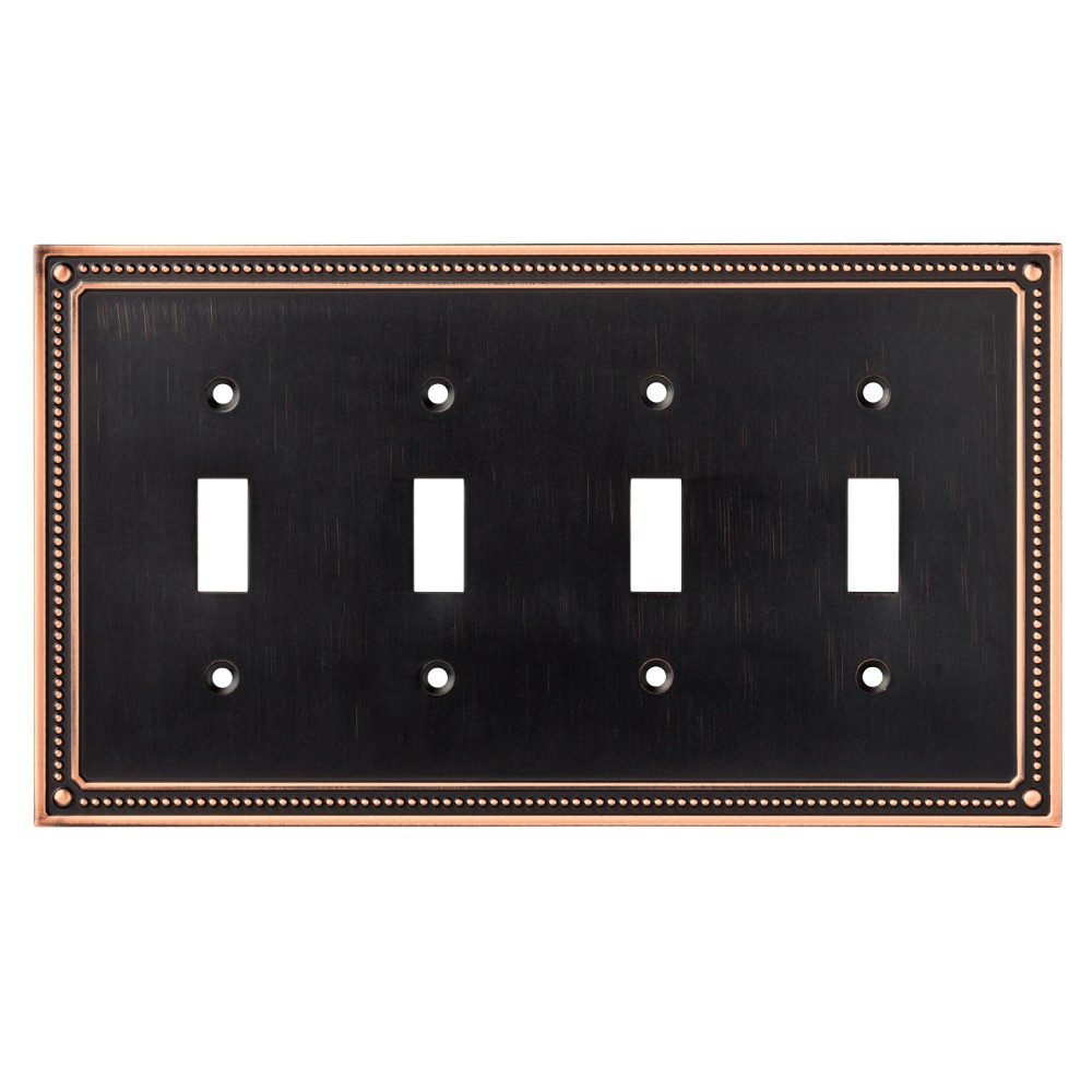Classic Beaded Quad Switch Wall Plate Bronze - Franklin Brass