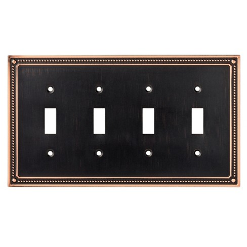 Classic Beaded Quad Switch Wall Plate Bronze - Franklin Brass - image 1 of 3