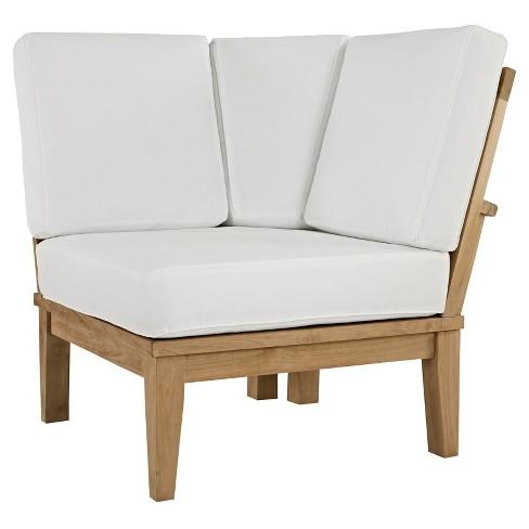 + 1 more - Marina Outdoor Patio Teak Corner Sofa In Natural White - Modway : Target