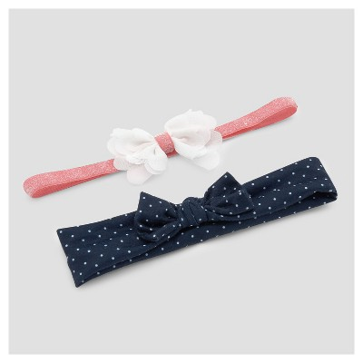 Baby Girls' 2pk Floral Dot Headwraps - Just One You™ Made by Carter's® Pink/Navy