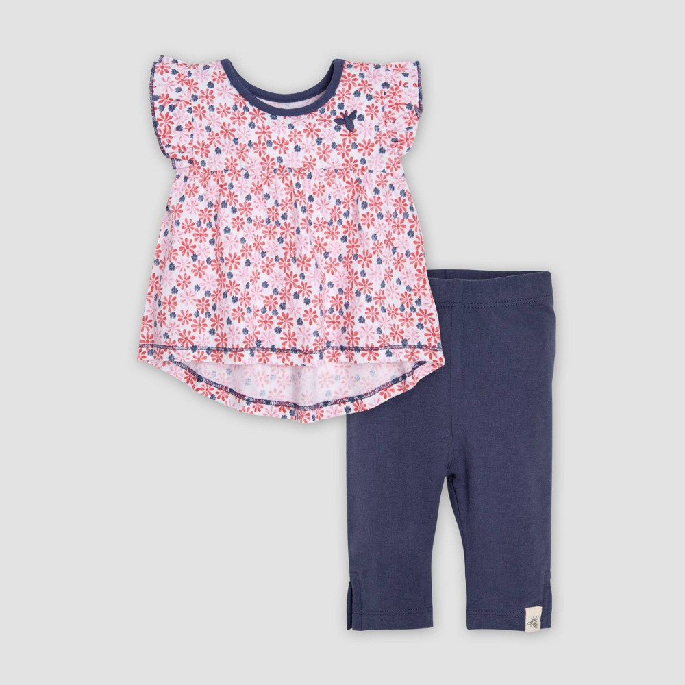 Burt's Bees Baby Baby Girls' Organic Cotton Daisy Floral Fields Tunic & Capri Leggings Set - Pink/Black 24M, Multicolored