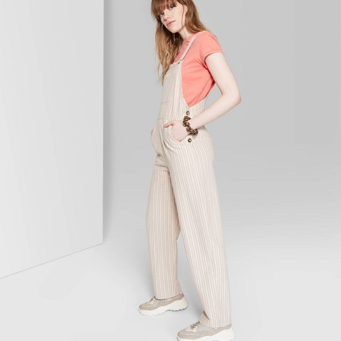 858f360175 Women s Striped Strappy Square Neck Overall - Wild Fable™ Beige   Target