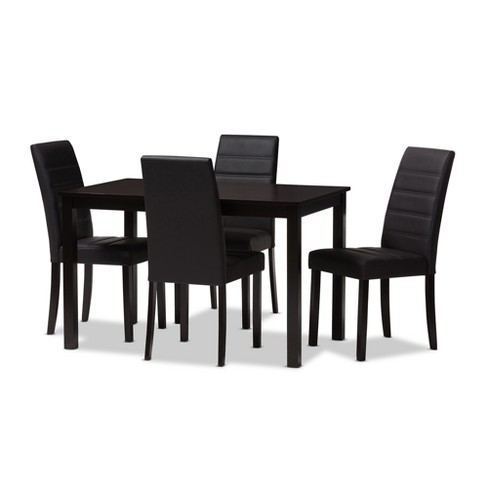 Lorelle Modern and Contemporary Espresso Faux Leather Upholstered 5pc Dining Set Dark Brown - Baxton Studio - image 1 of 5