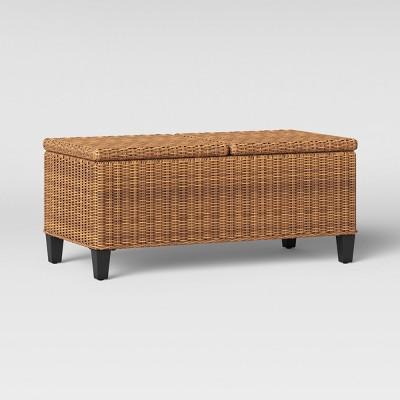 see this item in 3D & Fullerton Steel Wicker Patio Folding Storage Coffee Table Brown ...
