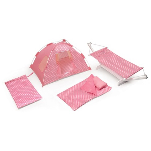 pretty nice 7b775 fcd8e Badger Basket Go Camping Set with Doll Tent, Hammock, Sleeping Bag, and  Pillow - Pink Polka Dot