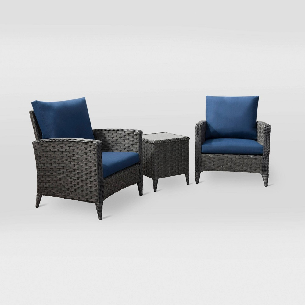 Image of 3pc Parkview Chair Patio Set - Navy - CorLiving