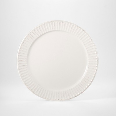 Stoneware Carved Lines Salad Plate 8.8  White - Threshold™